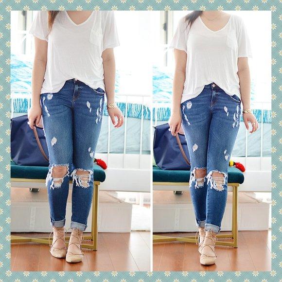 Zara Distressed Denim Jeans